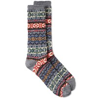 Anonymous Ism Fair Isle Crew Sock Grey
