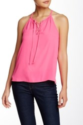 Lily White Lace Up Cutaway Tank Pink