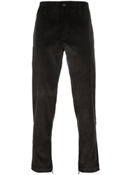 Salvatore Ferragamo Corduroy Effect Straight Trousers Brown