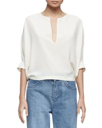 Chloe Half Sleeve Notched Silk Blouse White