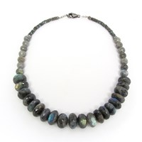 Dripping In Gems Graduated Labradorite Necklace With White Sapphire Clasp