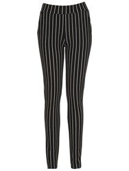 Izabel London Pinstripe Cigarette Pants Black White