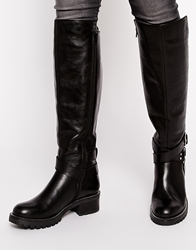 Asos Cuba Leather Knee High Boots Black