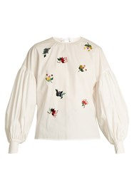 Muveil Sequin Embellished Puff Sleeved Cotton Top White
