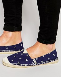 Brave Soul Espadrilles With Flamingo Print Navy Blue