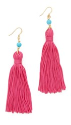 Kenneth Jay Lane Bead And Tassel Earrings Turquoise Pink