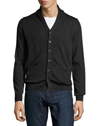 Neiman Marcus Shawl Collar Button Front Sweater Shadow