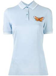 Dolce And Gabbana Embroidered Butterfly Polo Shirt Women Cotton Polyester 40 Blue