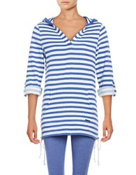 Marc New York Striped Hooded Pullover Blue