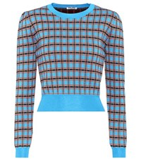 Miu Miu Cropped Wool Sweater Blue