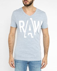 G Star Sky Blue Fuler Raw Logo V Neck T Shirt