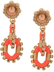 Dsquared2 Backyard Punk Crystal Earrings Orange