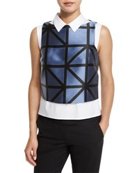 Milly Graphic Gridded Jacquard Shell Ice Black Ice Black