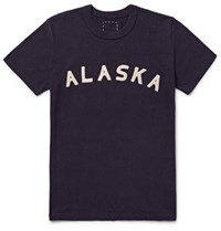 Visvim Alaska Appliqued Cotton Blend Jersey T Shirt Midnight Blue