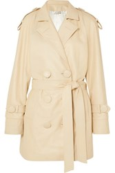 Attico Leather Trench Coat Beige