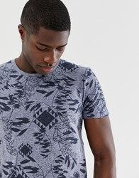 Tom Tailor T Shirt With All Over Leaf Print Navy