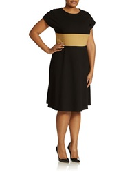 Anne Klein Plus Colorblocked Dress Black Khaki