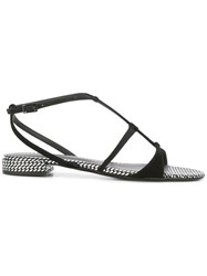 Emporio Armani Strapped Sandals Women Leather Suede 38 Black