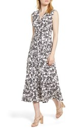 Anne Klein Pieced Floral Midi Dress Oyster Shell Black Combo