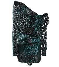 Saint Laurent Asymmetric Leopard Print Mini Dress Green