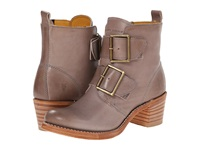 Frye Sabrina Double Buckle Grey Smooth Vintage Leather Cowboy Boots Beige