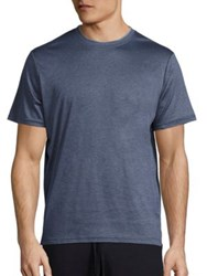 Saks Fifth Avenue Short Sleeve Double Crewneck T Shirt Cobalt Grey Indigo Grey