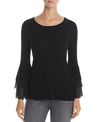 Design History Tiered Bell Sleeve Sweater Black