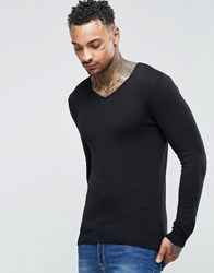 Asos Muscle Fit V Neck Jumper In Black Cotton Black