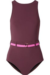 Karla Colletto Katherine Belted Swimsuit Burgundy