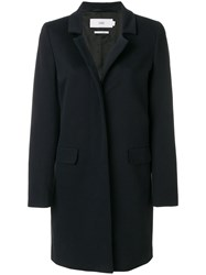 Closed Concealed Buttoned Coat Cotton Viscose Blue