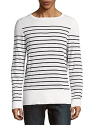 Sandro Striped Wool Blend Pullover White Blue