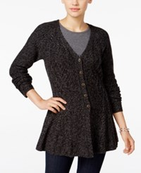 Styleandco. Style Co. Ribbed Peplum Cardigan Only At Macy's Dark Black Grey