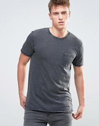 Esprit T Shirt In Burnout Wash And Pocket Dark Grey