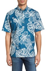 Reyn Spooner Mauna Monstera Button Down Polo Navy
