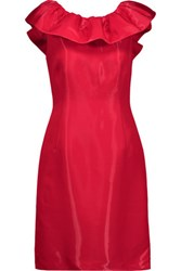 Moschino Ruffled Satin Crepe Mini Dress Crimson