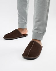 Dunlop Sheepskin Slip On Slipper Brown