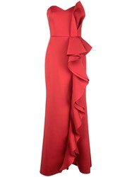 Badgley Mischka Ruffle Strapless Dress Red