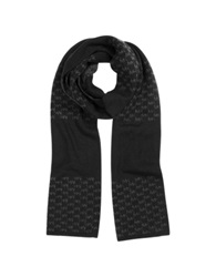 Michael Kors Repeat Stripe Logo Wool Men's Scarf Black