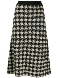 Gucci Houndstooth Knitted Midi Skirt Black