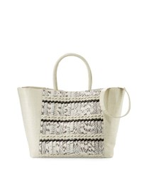 Nancy Gonzalez Woven Crocodile Large Convertible Tote Bag Cream Natural Cream Natural