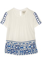 Sea Cutout Embroidered Cotton Voile Top White