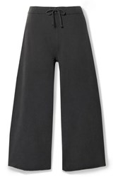 Nili Lotan Kiki Cropped Voile Trimmed Cotton Jersey Track Pants Dark Gray
