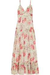 Paul And Joe Floral Print Cotton Gauze Maxi Dress Cream Gbp
