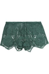 Miguelina Minnie Crocheted Cotton Shorts Green
