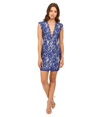 Aidan Mattox Stretch Lace Cocktail Dress With Deep V Neckline Neptune Nude Women's Dress Blue