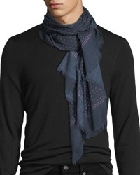 Isaia Gruppo Dotted Cashmere Blend Scarf Brown Blue