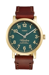 Timex 'Waterbury' Leather Strap Watch 40Mm Dark Brown Green