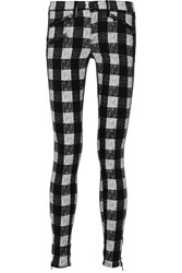 Rag And Bone Plaid Cotton Blend Flannel Skinny Pants Black