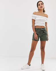 Oasis Shorts With Belt In Khaki Green