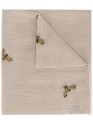 Janavi Beaded Bee Scarf Nude And Neutrals